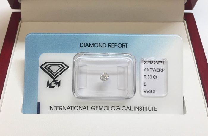 1 pcs Diamant - 0.30 ct - Briljant, Rond - E - VVS2