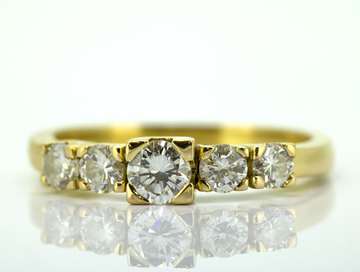 18 carats Or jaune - Bague - 0.40 ct Diamant