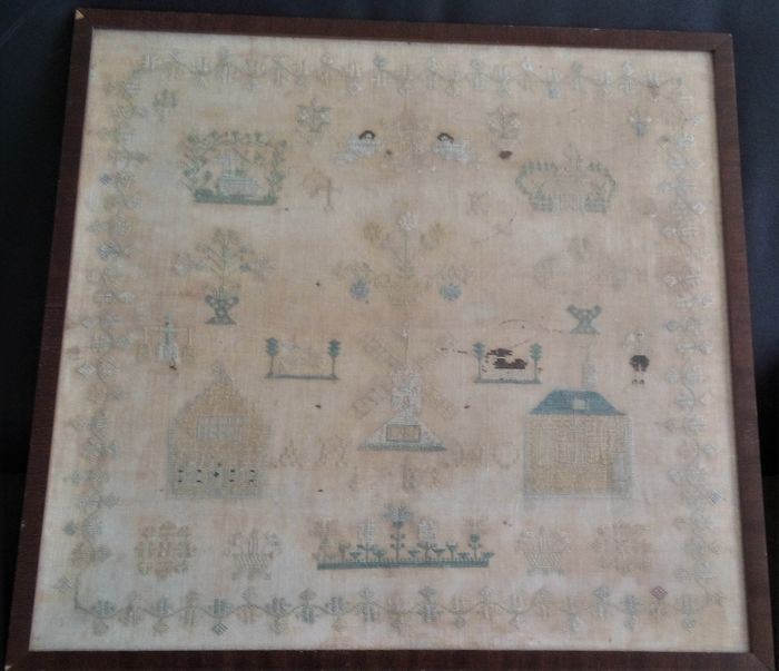 Embroidery, Merklap or Needle Sampler - Cotton, Textiles - Second half 18th century