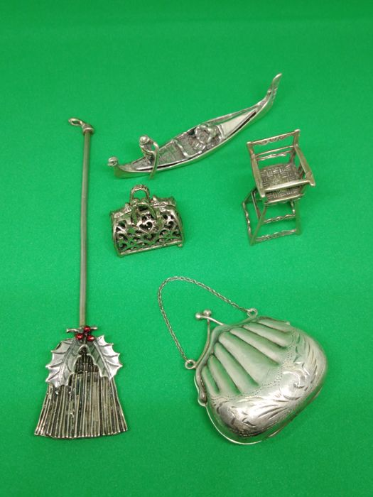 Silver miniature (5) - .800 silver - Italy - Early 20th century