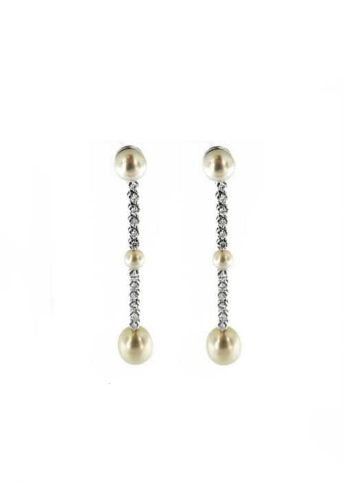 18 kt. 5-9.5 mm, Freshwater pearls, White gold - Earrings - 0.60 ct Diamonds