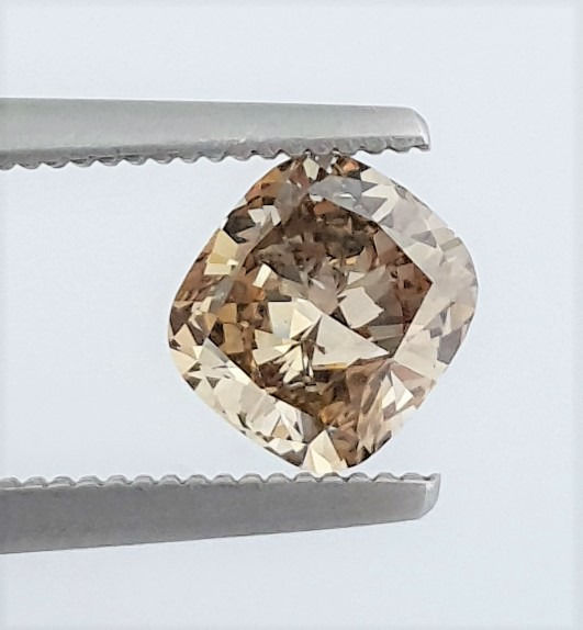 Diamond - 1.09 ct - Cushion - Natural Fancy Champagne - VS1