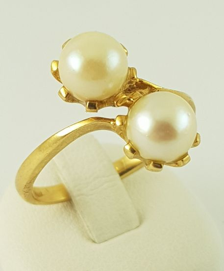 18 kt. Yellow gold - Pearl Ring - 750 yellow gold - 2 freshwater cultured pearls Pearl