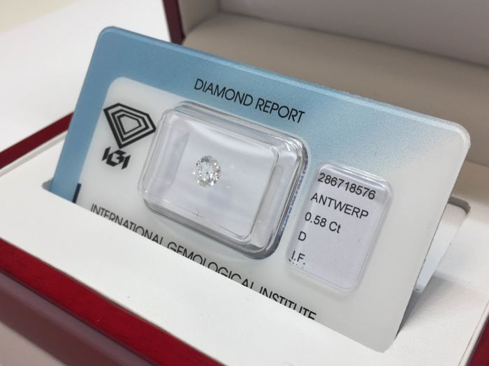1 pcs Diamant - 0.58 ct - Briljant, Rond - D (kleurloos) - IF (intern zuiver)