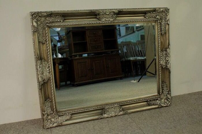 Wall mirror - Large antique silver frame - Glass, Silverplate, Wood