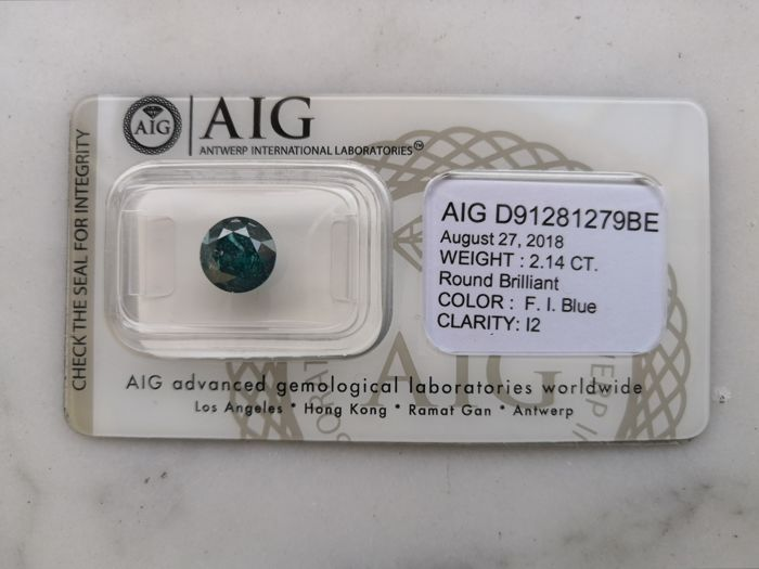 1 pcs Diamante - 2.14 ct - Brillante, Redondo - fancy intens blue - I2