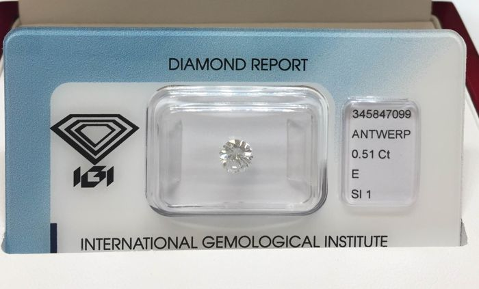 1 pcs Diamant - 0.51 ct - Brilliant, Rund - E - SI1