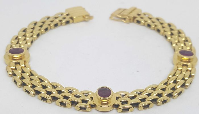 18 kt. Yellow gold - Bracelet - 1.30 ct Ruby