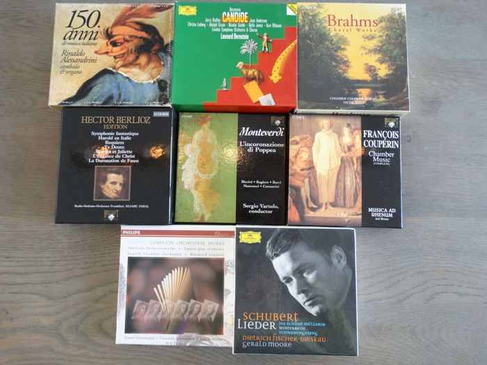 Lot of 8 CD box sets or 65 high quality classic CD's incl. Schubert, Händel, Berlioz and Monteverdi  - Diverse Künstler - Diverse Titel - CD Boxset - 1991/2005
