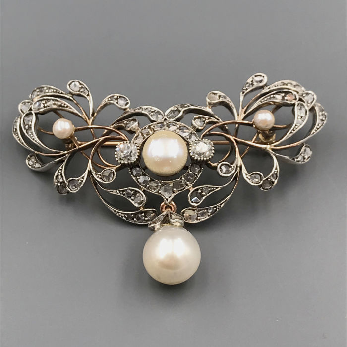 14 carats Argent, Or rose - Broche Diamant - Perle