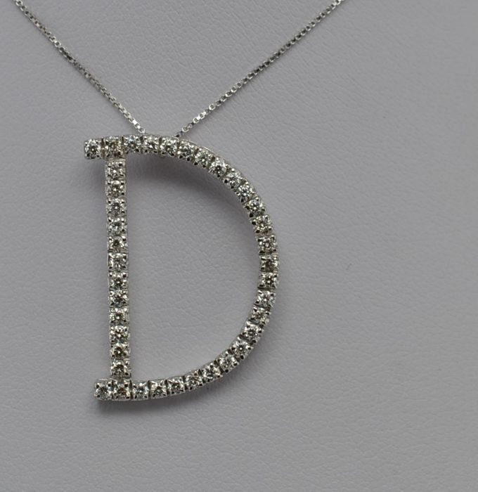 18 quilates Oro blanco - Collar con colgante - Diamante