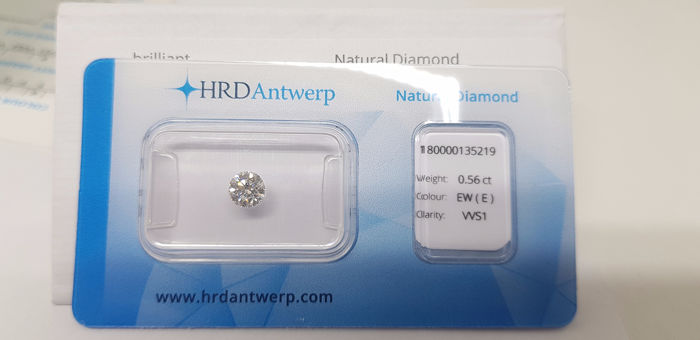 1 pcs Diamant - 0.56 ct - Briljant, Rond - E - VVS1