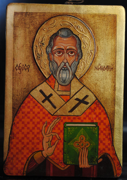 Religious Orthodox  - St Nicholas Icon on Panel 20thC