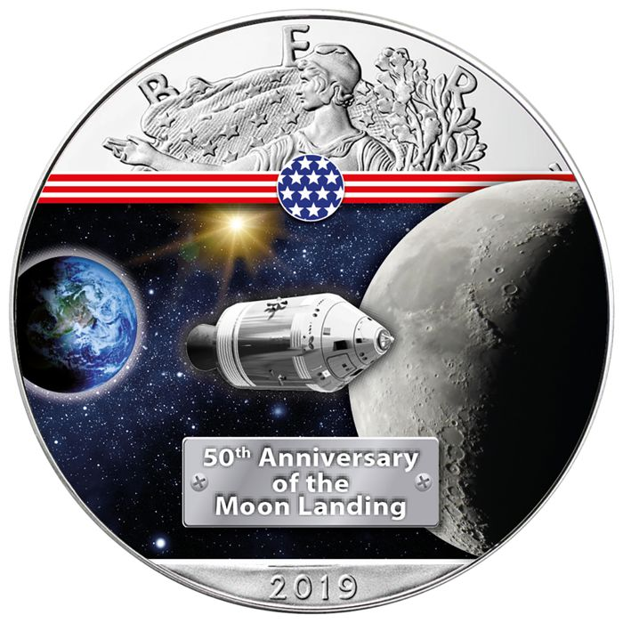 Verenigde Staten - 1 Dollar 2019 - Silver Eagle - On the Way to the Moon - 1 oz - Zilver