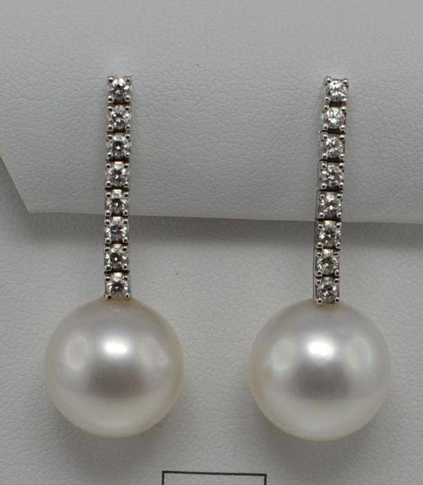18 quilates Oro blanco - Pendientes Abalorios Australia 13.5 - 14.00 mm - Diamante