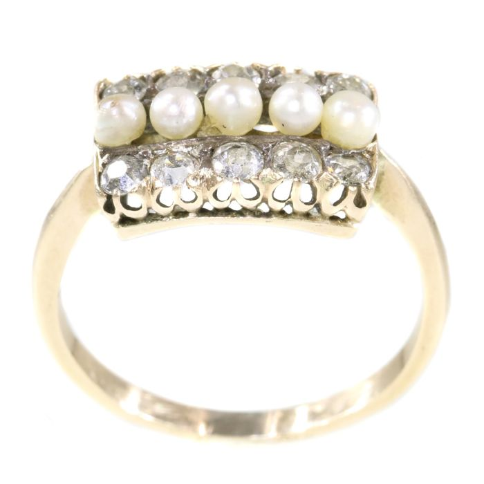 14 karaat Geel goud - Anno 1910 -, Ring Pearls - Diamanten