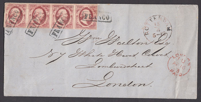 Pays-Bas 1863 - Cover with NVPH 2 in a strip of four to London