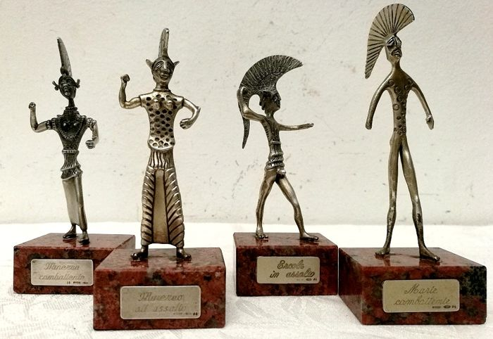 Sculpture Collection of 4 Mythological Characters (4) - Silver - Italy - Second half 20th century