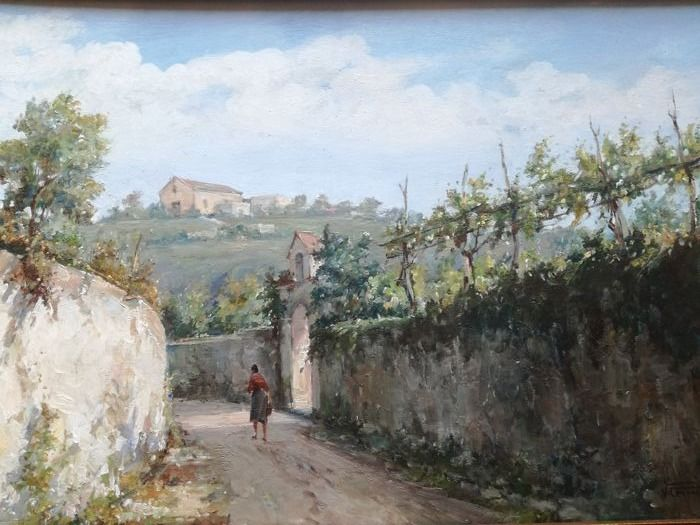 Used, Canino Vincenzo ( 1898 - 1978 ) - Strada di campagna Classical Art Affordable Classical for sale