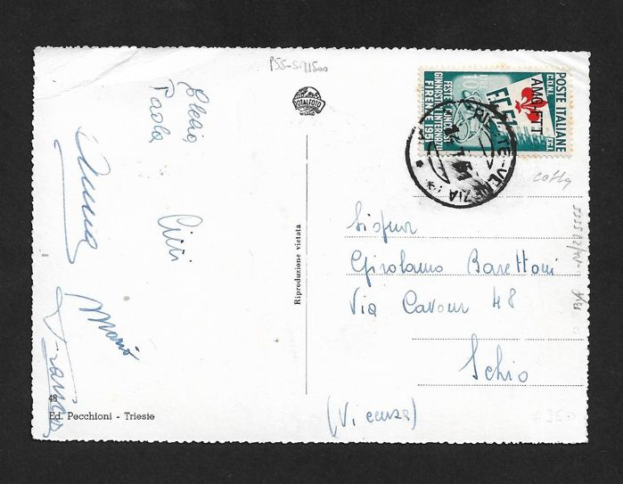 Triest - Zone A 1951 - Postcard stamped with Gymnastics L. 10 overprinted AMG-FTT - Sassone N. 117