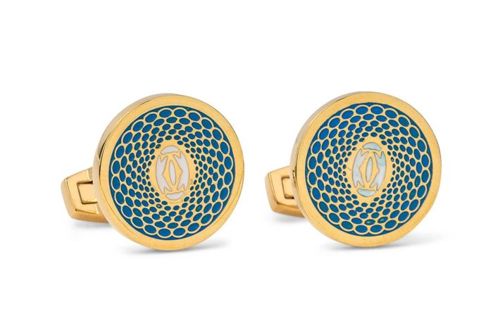 Cartier - exquisite turquoise gold plated gentleman's   cuff links