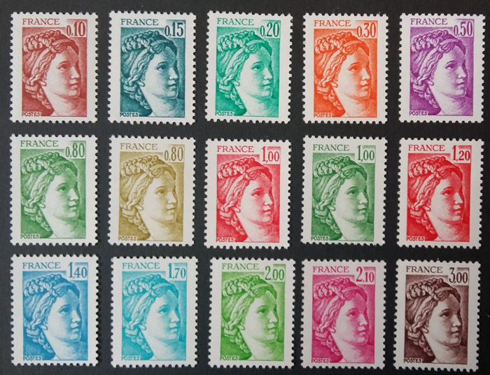 Francia 1977/1978 - Sabine, the 15 stamps, without phosphorous strip - Yvert 1965-79