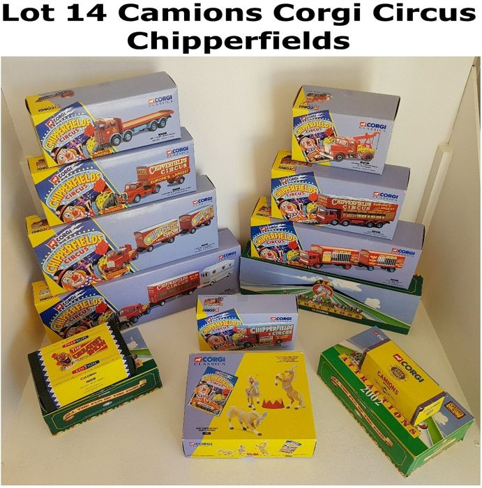 Corgi - 1:50 - 14 Camions Circus Chipperfields - Beautiful Lot Of Exception Limited & Numbered Draw