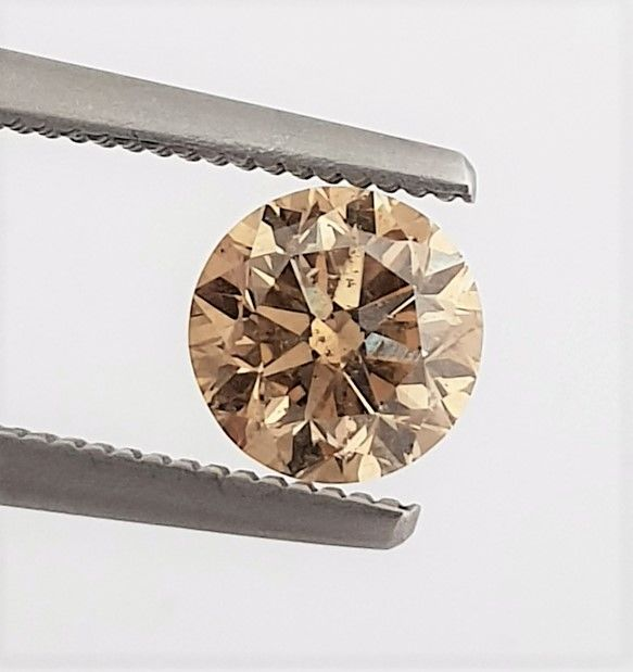 Diamant - 1.00 ct - Briljant - Natural Fancy Champagne - SI2