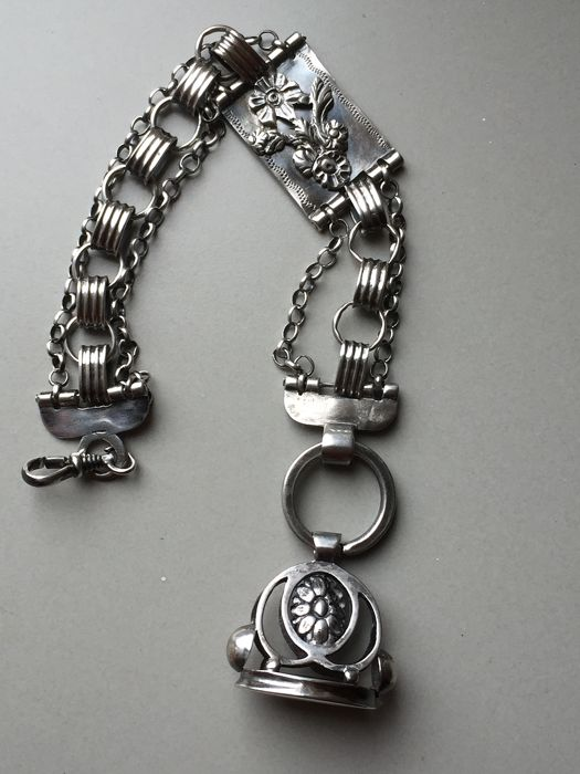 Chatelaine / Watch chain (1) - .833 silver - Klaas Weijns - Zwolle - Netherlands - Early 19th century