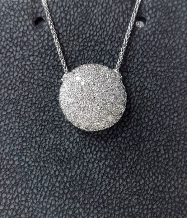 18 kt. White gold - Necklace with pendant - 1.10 ct Diamond