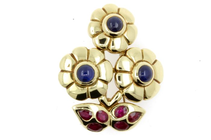 Cartier - 18 kt. Yellow gold - Brooch Ruby - Sapphire
