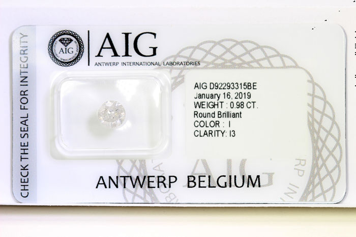 Diamante - 0.98 ct - Brillante - I - P3 - * NO RESERVE PRICE *