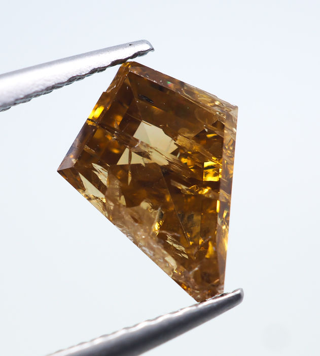 Diamond - 1.25 ct - Natural Fancy INTENSE Yellow-Brown - I2 *NO RESERVE*