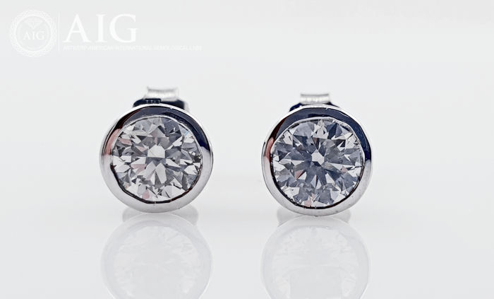 14 quilates Oro blanco - Pendientes - 0.86 ct Diamante - Sin reserva D / VS1