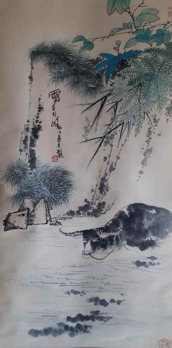 Ink painting - Chinese scroll painting on paper - in style of  Pan Tianshou - China - late 20th century.