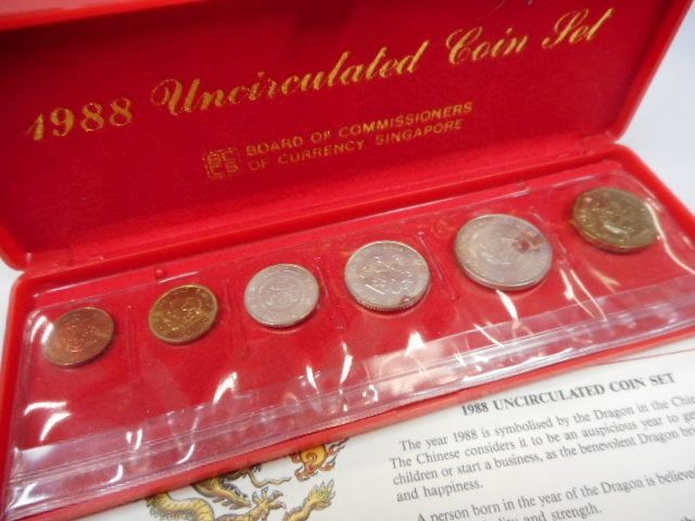 1996 SINGAPORE UNCIRCULATED COIN SET HONGBAO SET 7 COINS PACK UNC
