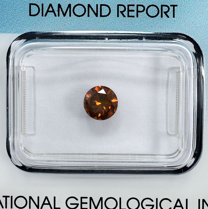 Diamond - 0.58 ct - Briliant - Fancy Intense Orange - SI1