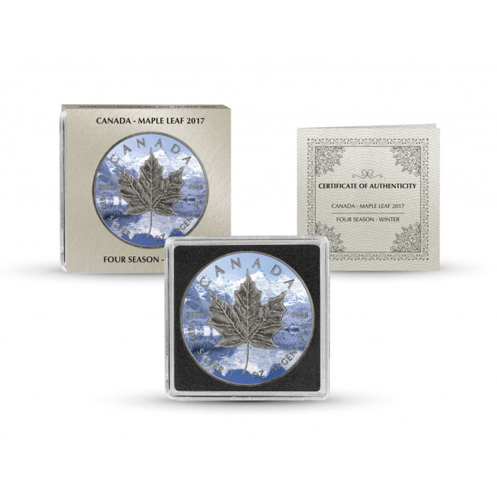 Canada - 5 Dollar 2017 Maple Leaf Vier Jahreszeiten Winter Antique Finish - 1 Oz - Zilver