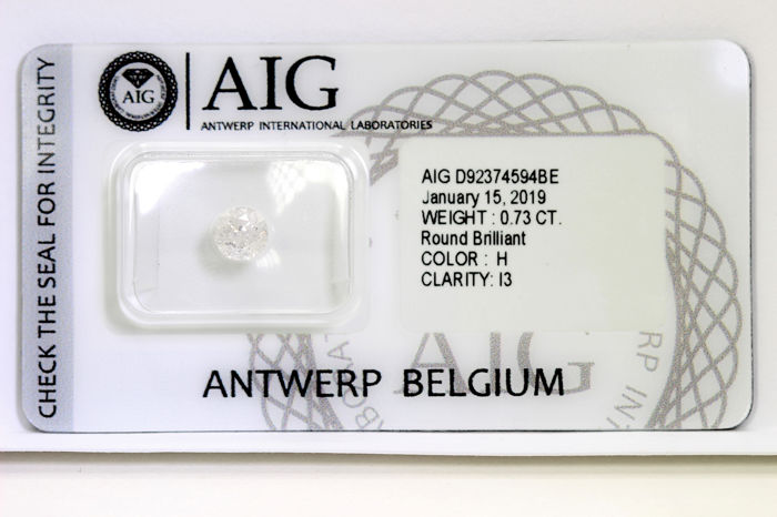 Diamant - 0.73 ct - Briljant - H - P3