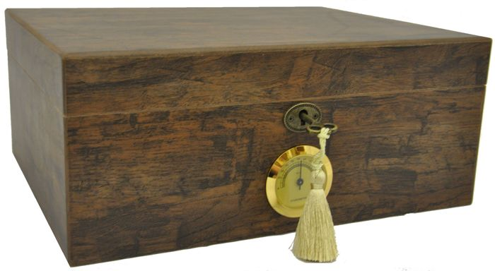 ANGELO - Humidor for 50 cigars Antique outdoor hygrometer made of brass - 1