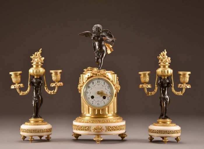 Kupido clock - B.A. Kluisterhuis Amsterdam - Bronze (gilt/silvered/patinated/cold painted), Marble - 19th century