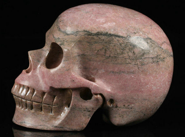 "Huge 5.1"" Pink Rhodonite Carved Skull Crystal - 5.1×3.9×3.2 in - 1810 g"