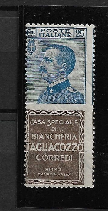 Italië 1924/1925 - Advertising stamps Tagliacozzo 25 cents light blue and brown with intact gum - Sassone Pubbl. N.8