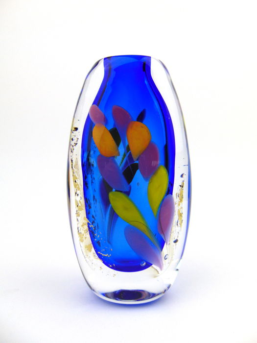 Maxence Parot  - Massive single vase Blue light Gold and colors - Glass
