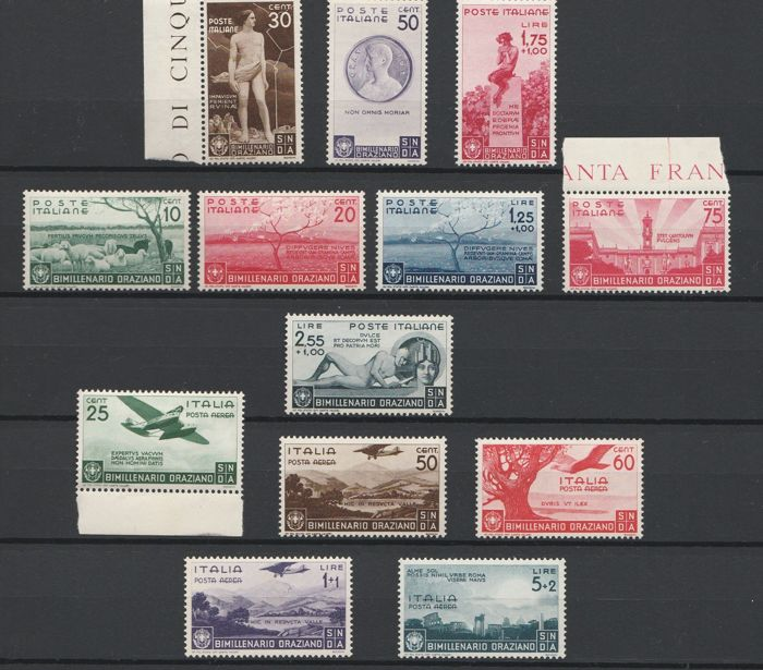 Italy 1936 - Bimillenary of Horace's birth, regular mail + airmail - Sassone S86