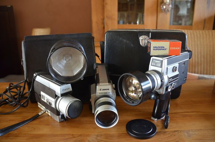 Canon  518 SV, 814 electronic + 318 super 8 met extra's.