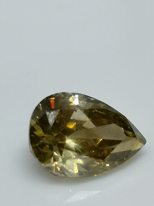 1 pcs Diamant - 1.31 ct - Peer - fancy dark grey greenish yellow - SI2
