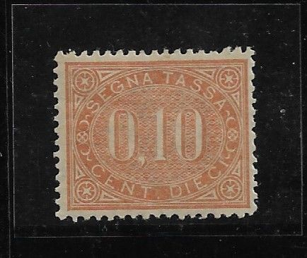 Italië 1869 - Oval postage due and value in the centre, 10 cents orange brown, slight trace, centred - Sassone Tasse N.2