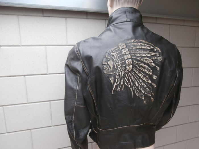 Clothing - Leather Motorcycle Jacket,Indian Head - 1990