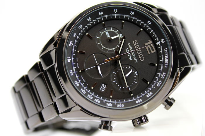 "Seiko - ""NO RESERVE PRICE"" Uomo Chrono Nero Black Man Water resistent 100 Metri - SSB093P1 - Men - 2018 - 2019"